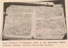 Paper notebook of Tyägaräja's klitis in the Saurashtra Sabha  Collection, Madurai. ( Courtesy Marcia Plant Jackson)